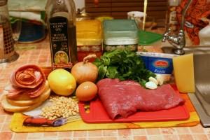 Продукты для итальянских котлет с беконом