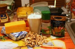 Продукты для печенья из сыра с грецкими орехами