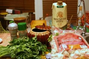 Продукты для пельменей в горшочке